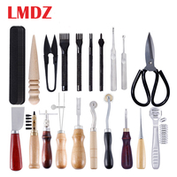 LMDZ 24Pcs DIY Leather Tools Set Multiple Leather Crafting Kits Handheld Leather Craft Tools with Awl Punch Groover Skiving Tool