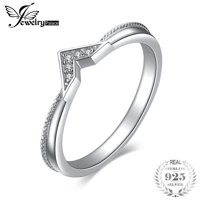 JewelryPalace Minimalist Cubic Zirconia Triangle Stackable Ring 925 Sterling Sil