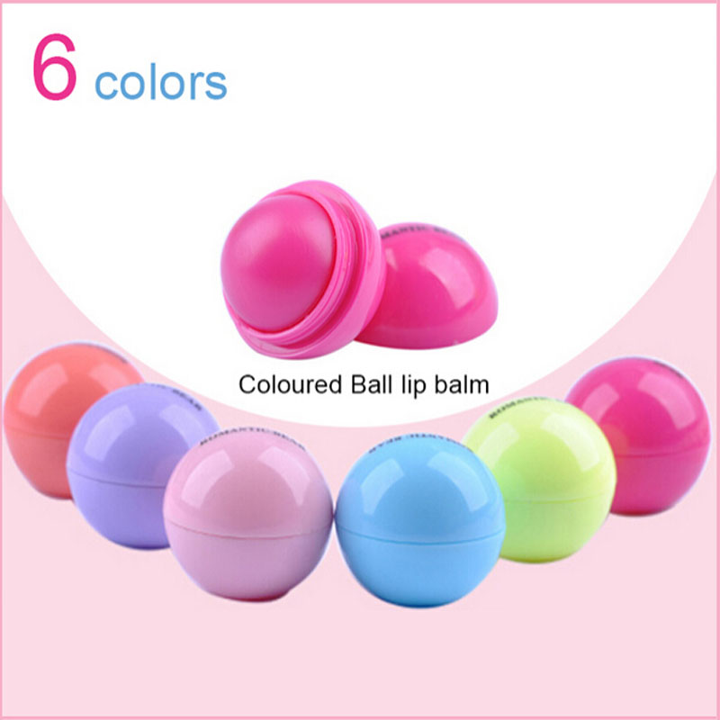 NEW 6 Colors Lot Round Ball Smooth lip balm Fruit Flavor Lip Care Smacker Organic Natural