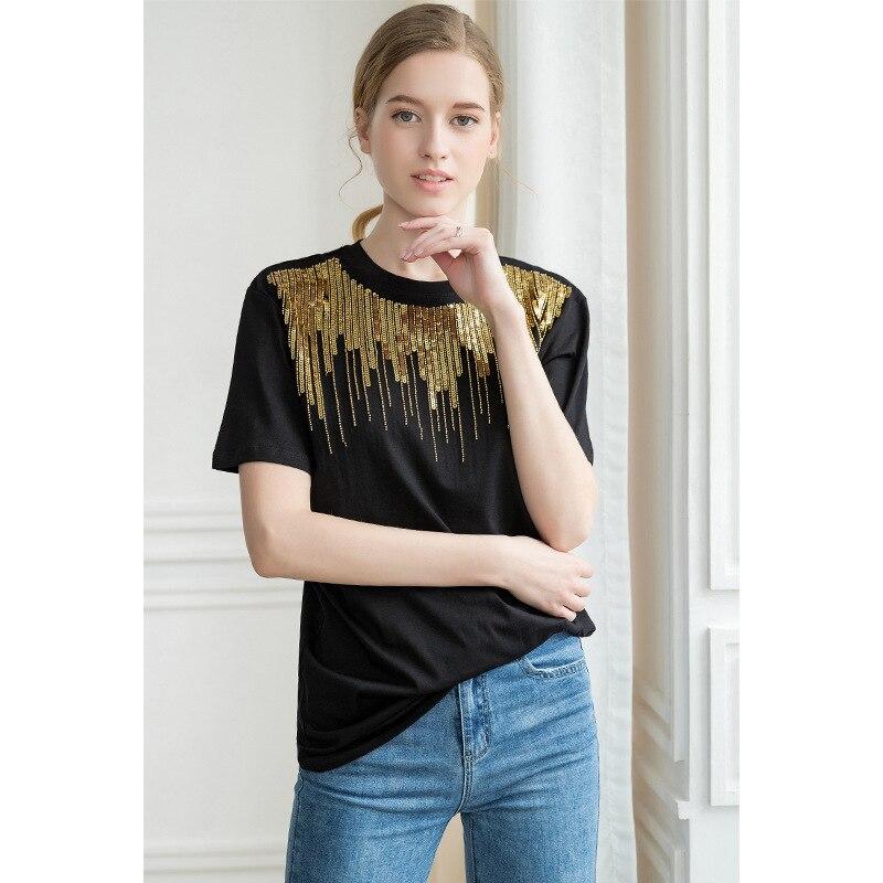 100% coton Sequin noir chemise Vogue streetwear coréen vêtements 90 s graphique t-shirts femmes chemises graphique t-shirts Omighty Hypebeast