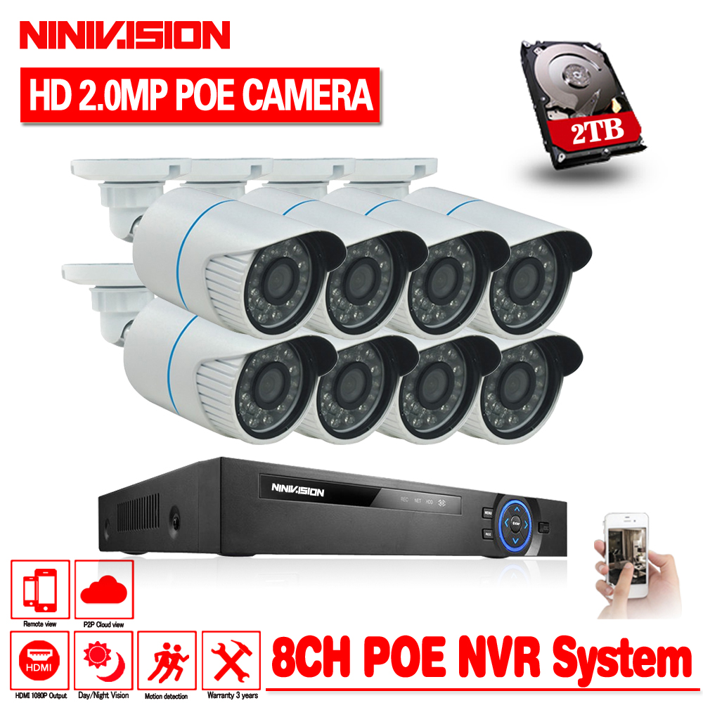 48V 8CH 1080p network security ip camera 2mp IP66 waterproof Cam H.264 8ch 2MP POE NVR 8ch 1080p Video Surveillance system kit new 8ch