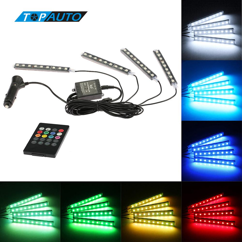 4 in 1 Wireless Remote 7 Color RGB Music Voice Control Interior Atmosphere Light Bar Car Floor Dash LED Decoration Lamp Kit 12V car styling wireless remote music voice control interior floor foot decoration light cigarette led atmosphere rgb neon lampstrip
