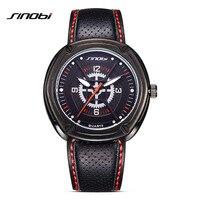 Sinobi nouvelle dur guy hommes sport poignet montres respirant bracelet en cuir marque de luxe quartz horloge 2017 locomotive