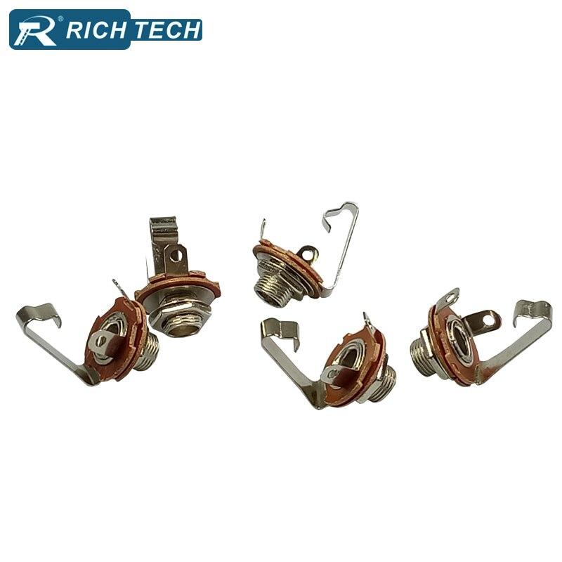 5pcs panel mount Solder female 6 35mm jack connector 6 35mm 1 4 Mono Chassis Socket