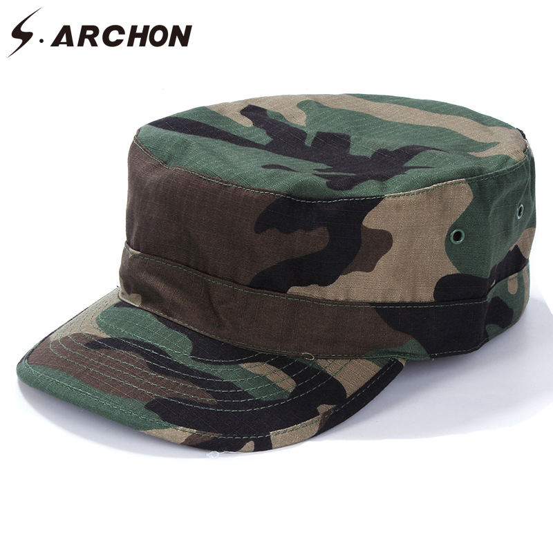 S.ARCHON US Army Camouflage Military Sailor Hats For Men Soldier Sniper Combat Tactical Caps Unisex Paintball Airsoft Camo Hats