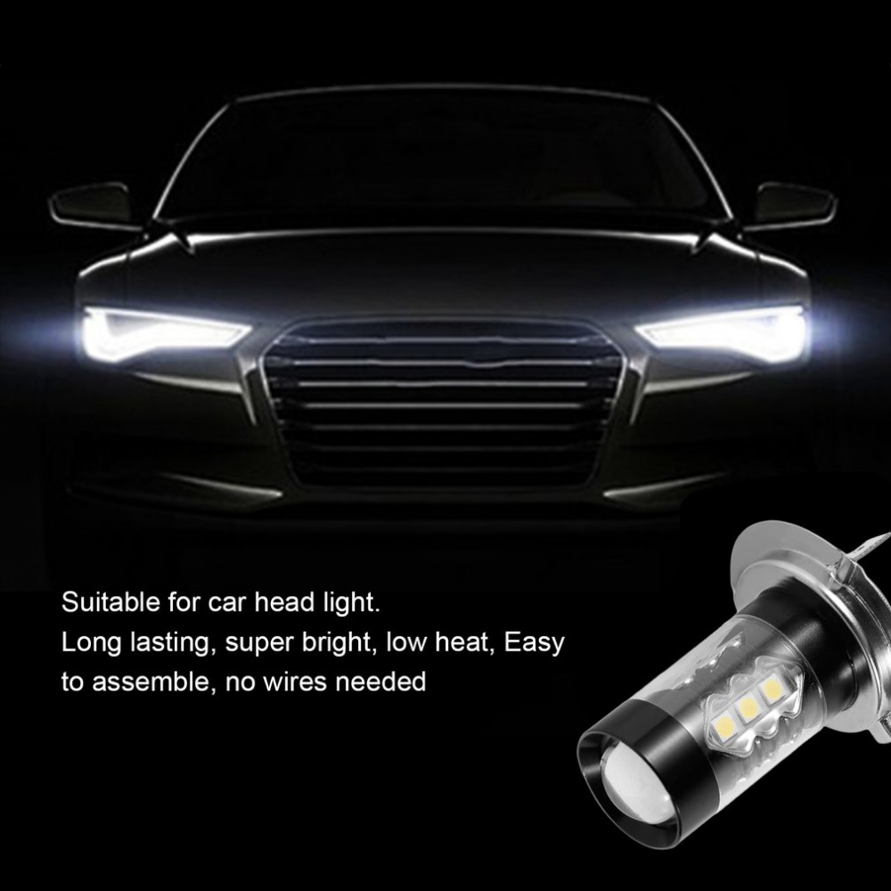 1x 80W H7 LED Bulb 16 SMD Car Fog Light DC 12V~24V White Headlight DRL Fog Lamp Light Sourcing 1920lm Hot Selling