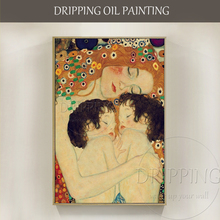 Artist Hand-painted High Quality Mother and Child Oil Painting Reproduction Gustav Klimt for Bed Room