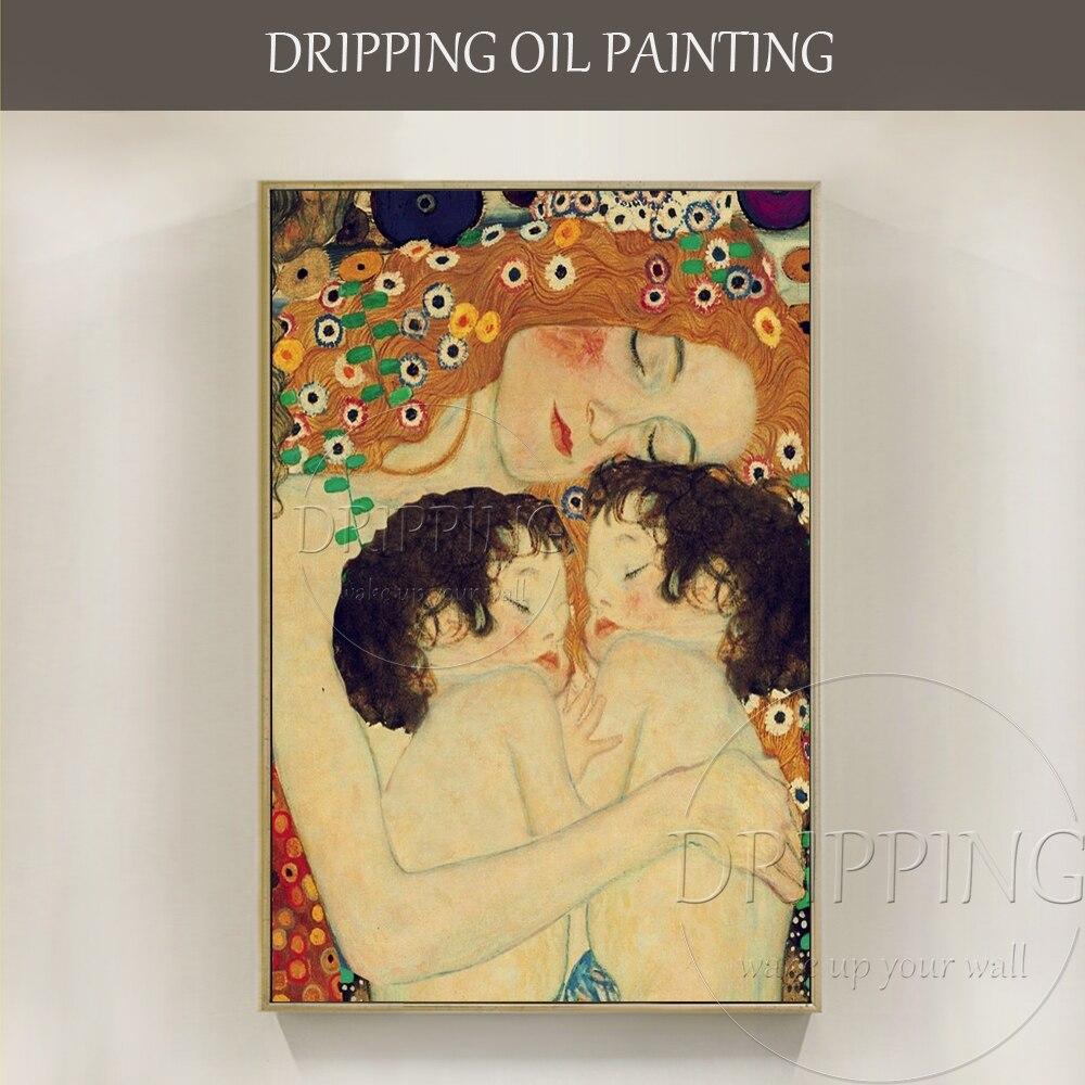 Kunstenaar handgeschilderde Hoge Kwaliteit Moeder en Kind Olieverf Reproductie Gustav Klimt Moeder en Kind Schilderen voor Bed kamer-in Schilderij & Schoonschrift van Huis & Tuin op  Groep 1