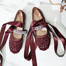 Sweet New 2017 Genuine Leather Sheepskin Buckle Girls Mary Jane Ribbon Ankle Strap Rhinestone Ballet Flats Women's Shoes