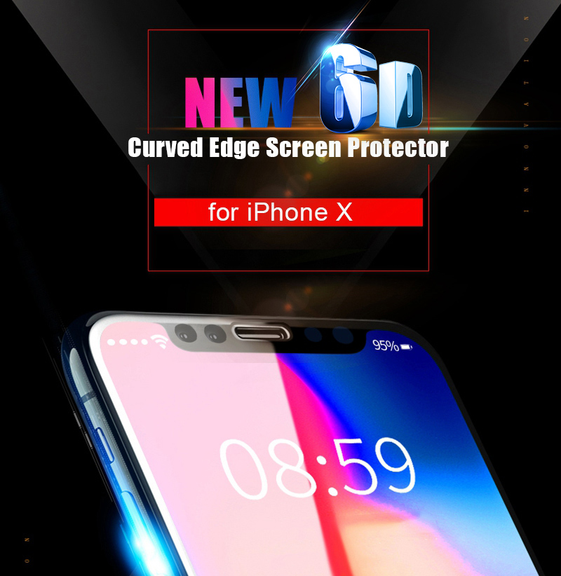 Artisome Glass on the For iPhone 6 6s Screen Protector 6D Edge Full Cover Protective Glass on the For iPhone X 10 7 8 Plus       (1)