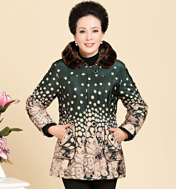 New Middle-age winter jacket women Warm printed Wadded jackets mother Clothing Cotton-padded winter coat XL-4XL a1969