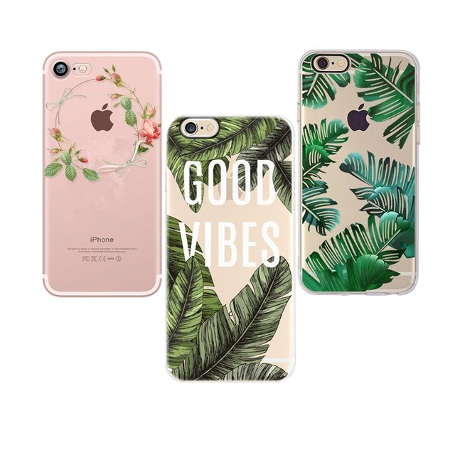 Silicon Case For iPhone X s 8 8 plus 7 7Plus 6 6S 5 5S SE Case Funda Soft TPU Cover Flower Leaves Case Cover Coque Shell Capa