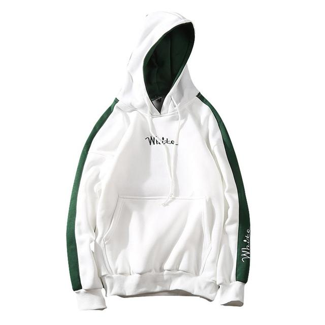 Men Fashion Embroidery Hoodies Sweatshirt Long-Sleeve Matching Color Casual Coat Top Streetwear Spring Plus Size Pullover Hooded