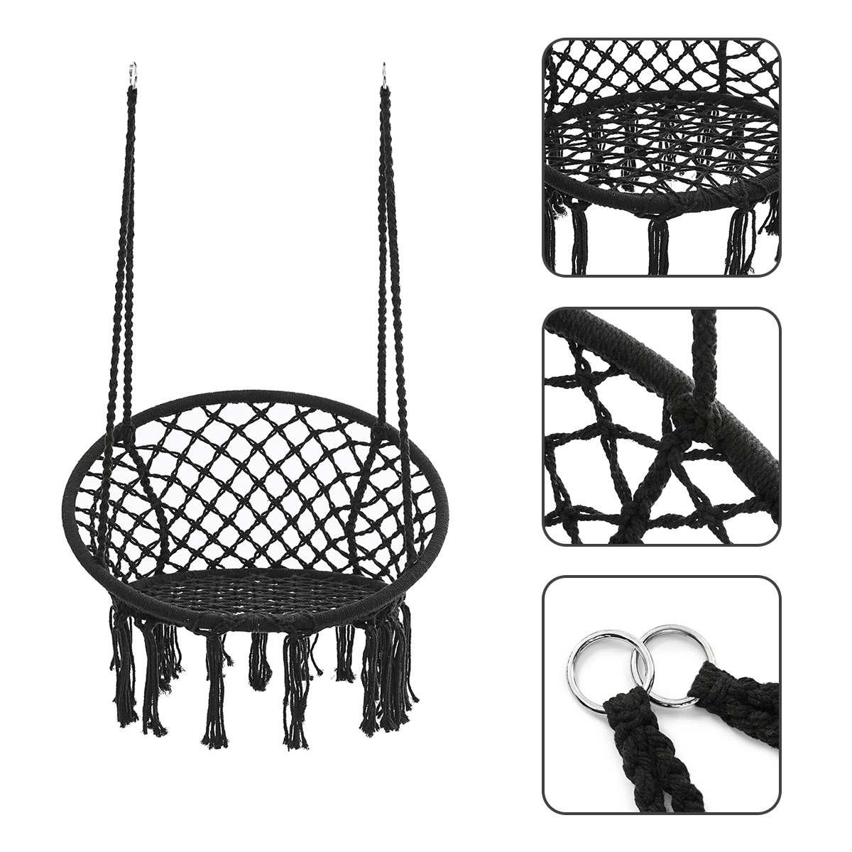 Rodada Rede Cadeira Ao Ar Livre e Indoor Quarto Dormitório Quintal Para Adulto Criança Balanço Pendurado Rede Cadeira de Segurança Único