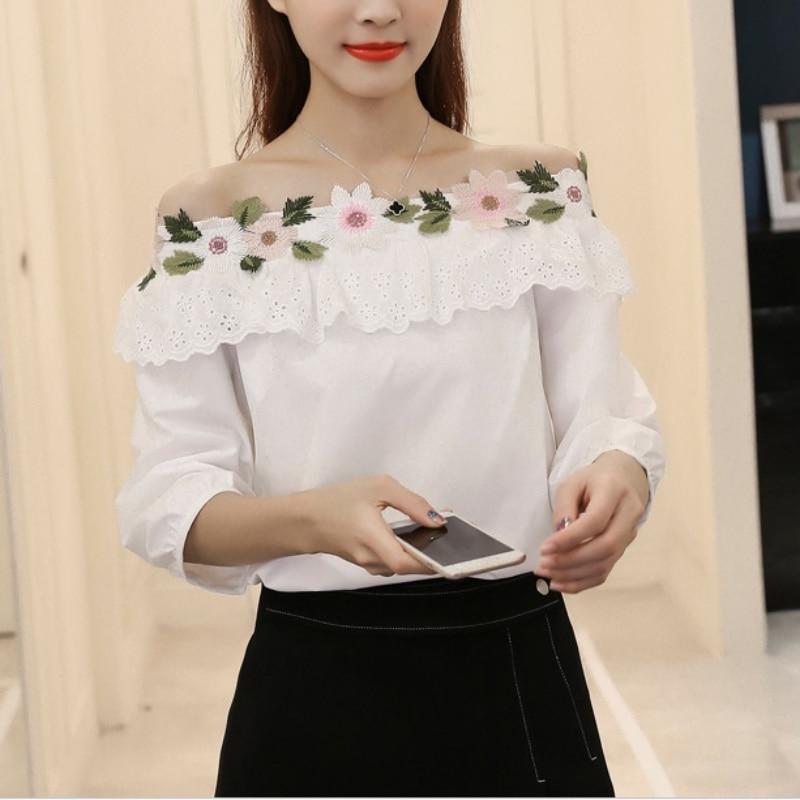 Fashion Women's Three-quarter Sleeve White Slash Neck Splice Lace   Blouses     Shirt   Floral Embroidered   Blouse   Tops Women