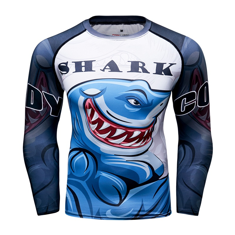 size 40 f5e5c 2c4bf US $7.98 30% OFF|Shark New Men's Compression Tight Skin UFC T Shirt MMA BJJ  Long Sleeves 3D Prints Rash guard Fitness Base Layer Male Tops Wear-in ...