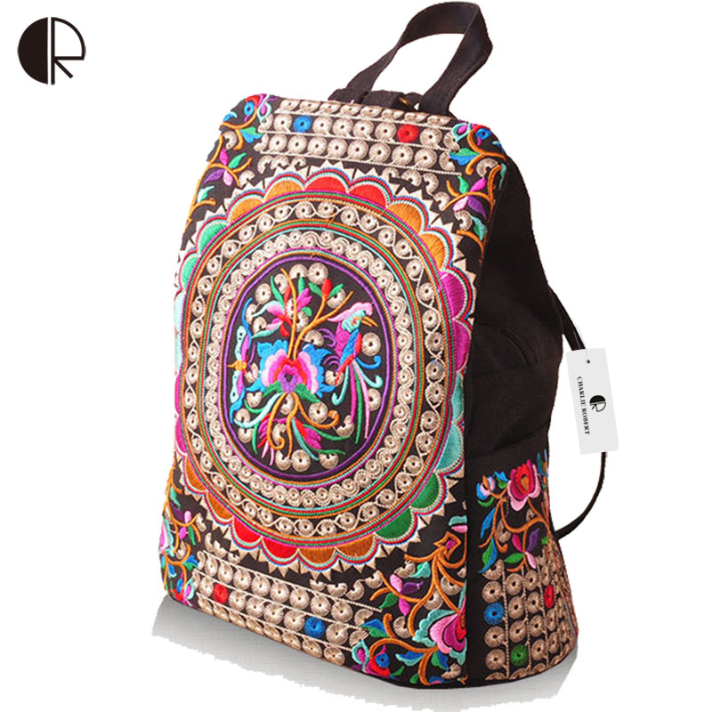 Hot Women Handmade Flower Embroidered Bag Canvas National Trend Embroidery Ethnic Backpack Travel Bags Schoolbags mochila chinese hmong boho indian thai embroidery brand logo backpack handmade embroidered canvas ethnic travel rucksack sac a dos femme