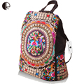 Hot Women Handmade Flower Embroidered Bag Canvas National Trend Embroidery Ethnic Backpack Travel Bags Schoolbags mochila