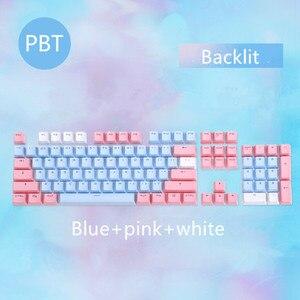 Image 5 - 104 клавиши/комплект, колпачки для ключей PBT, механическая клавиатура с двойным снятием, колпачки для ключей с подсветкой, розовые, синие, белые, для Ajazz AK35I и других MX переключателей
