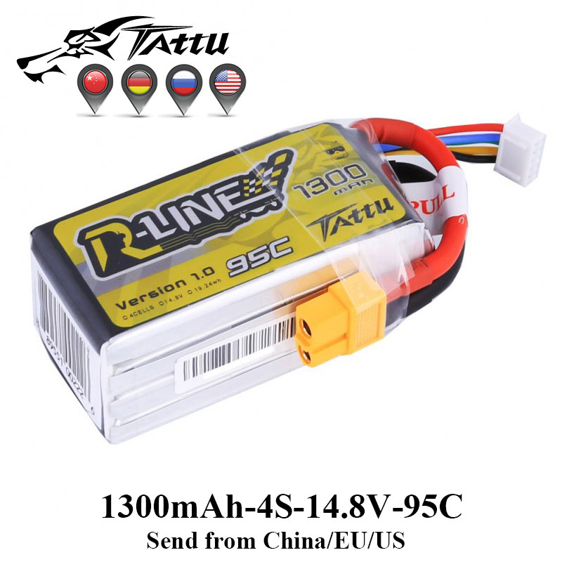 Tattu Racing Battery 95C 14.8V 1300mAh Lipo 4s Battery XT60 Plug for FPV Racing Drone RC Quadcopter Helicopter Car Boat mos rc airplane lipo battery 3s 11 1v 5200mah 40c for quadrotor rc boat rc car