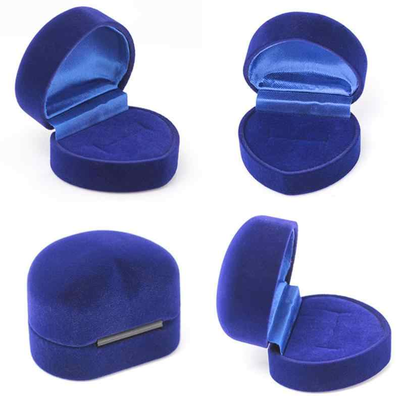 Caja de anillo azul caja de almacenamiento de joyería caja plegable para anillo de boda regalo de San Valentín organizador de anillos de corazón caja de almacenamiento