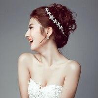 Fleurs De Mariage De Mariée Bijoux coiffe Coréenne cristal de mariée mariage Head Piece Mariée Chapeaux Bandeau Bande De Cheveux 100% Fait Main