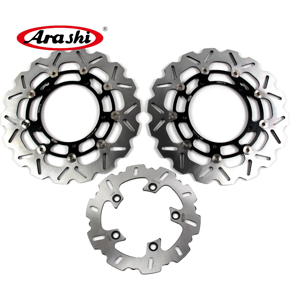 Arashi 1 Set For YAMAHA YZF R1 2007 2008 2009 2010 2011 CNC Floating Front Rear Brake Disc Rotors YZF R6 2005-2015 motocross dirt bike enduro off road wheel rim spoke shrouds skins covers for yamaha yzf r6 2005 2006 2007 2008 2009 2010 2011 20