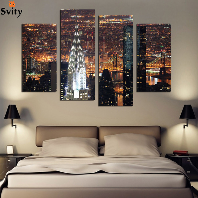 Wall Art With Lights aliexpress : buy 4 piece wall art new york manhattan usa with
