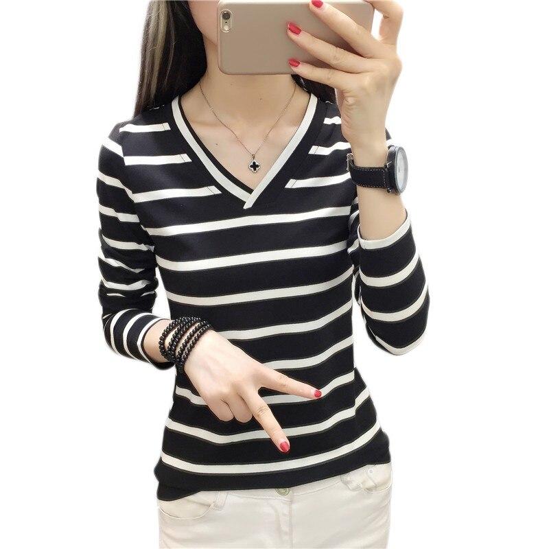 Loose Student Bottom V-Neck Striped T Shirt Full Sleeve Black and White Stripes Women T-Shirt