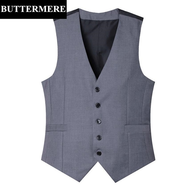 Men's Formal Suit Vest Grey Wedding Waistcoat Sleeveless Blazer Black Suit Gilet New Arrival Brand Male Slim Fit Vests