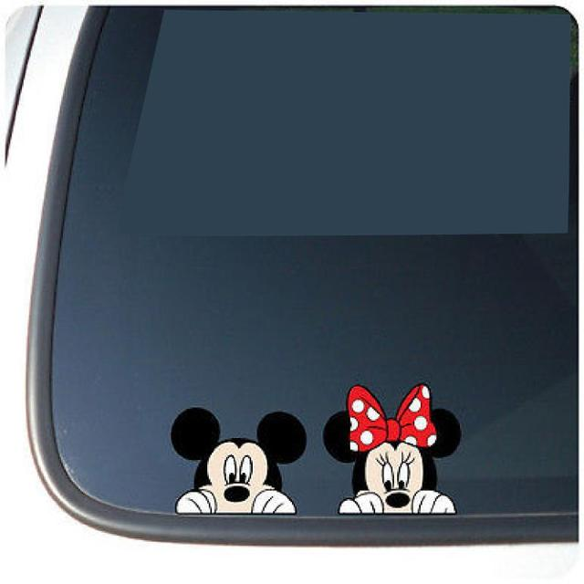 Mickey peeking vinyl funny car decal window sticker color