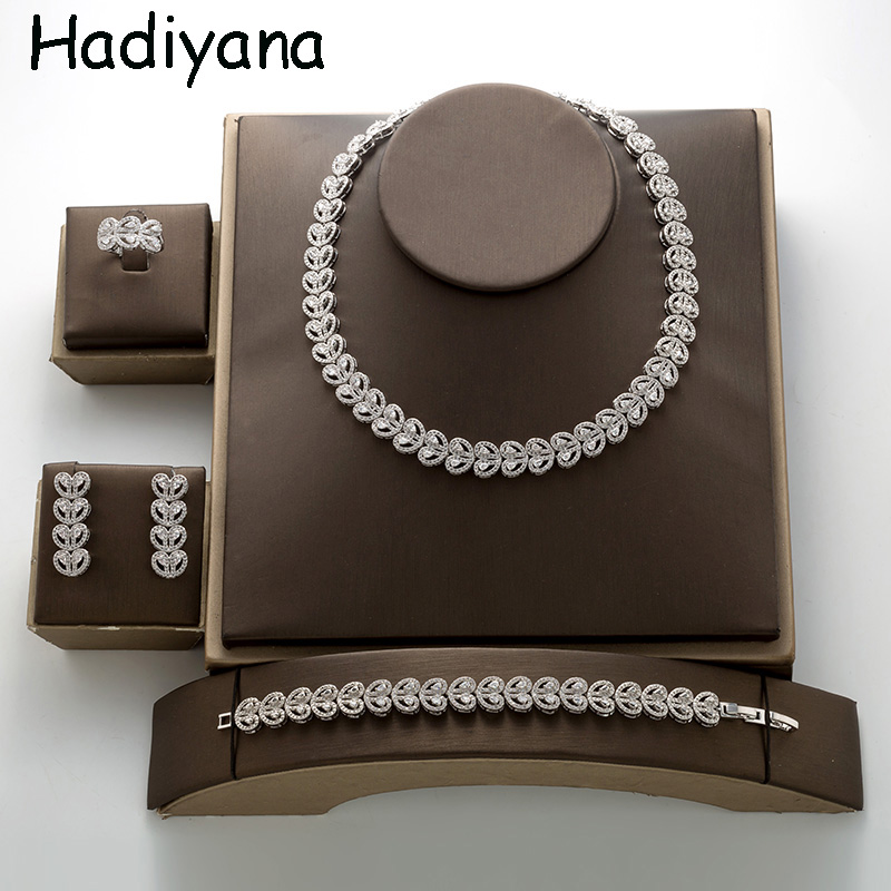 Hadiyana Love Shape Necklace Bracelet Ring Earring Jewelry Set For Women Zirconia Heart Bridal Wedding Jewelry