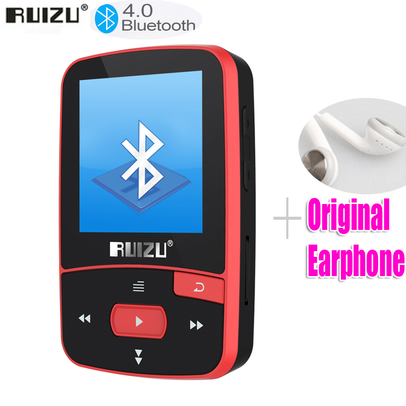 New Arrival Original RUIZU X50 Sport Bluetooth MP3 Player 8gb Clip Mini with Screen Support FM,Recording,E-Book,Clock,Pedometer(China)