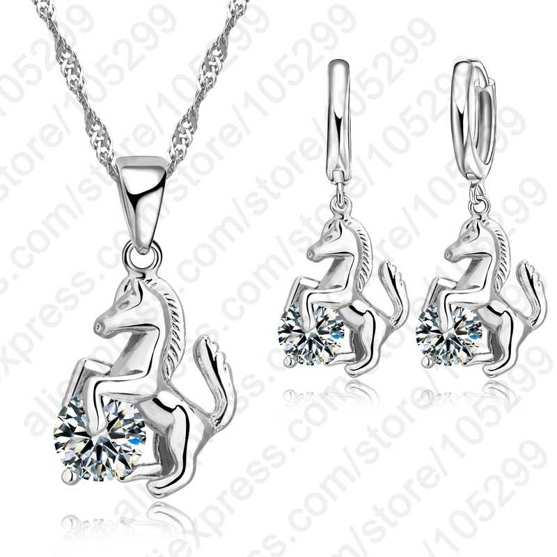 Trendy Horse Design Anhänger 925 Sterling Silber Mode Schmuck Cubic Zirkon Halskette Ohrring Für Frauen Hochzeit Set
