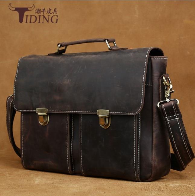 Vintage Men's Genuine Leather Briefcase 14 Inch Big Business Handbag Cowhide Laptop Handbag Briefcase Messenger  Shoulder Bags