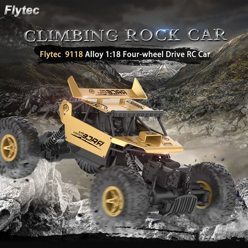 Flytec 9118 1/18 Alloy Body Racing Machine Drive Crawler RC Buggy Car 2.4G 4WD High Speed Radio Remote Control Climbing Car