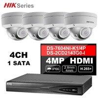Hik 4CH HD PoE NVR комплект 4 шт. 4MP DS-2CD2143G0-I видеонаблюдения системы купол открытый IP камера ИК Ночное Видение набор для наблюдения