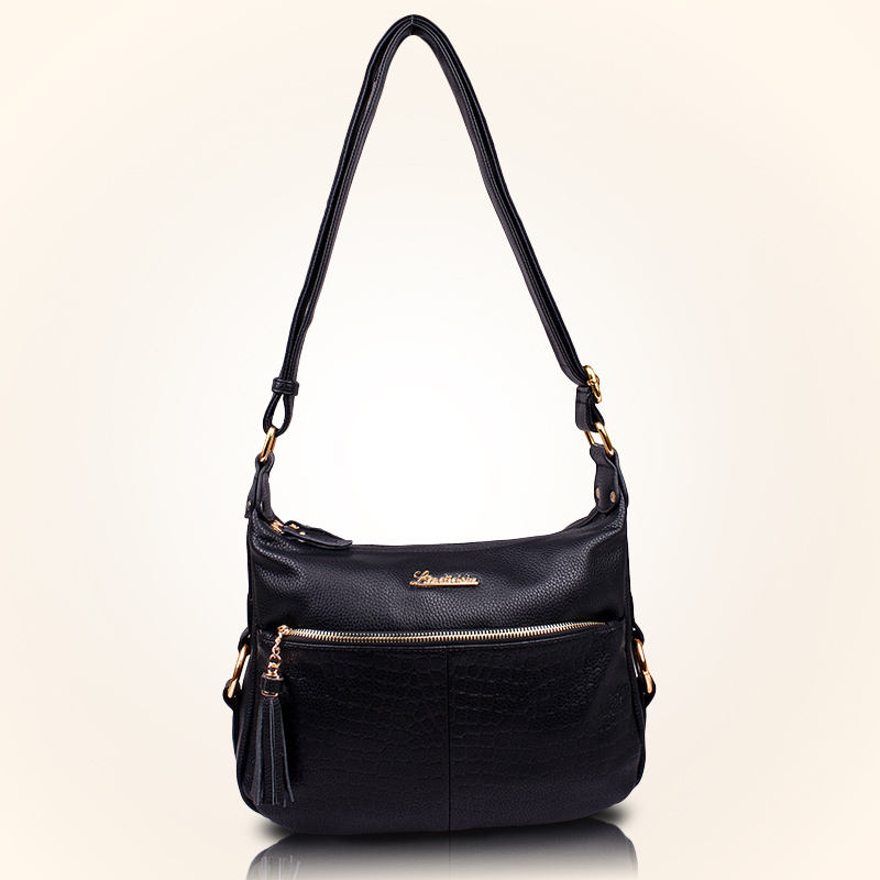 High Quality Women's Genuine Leather Handbags Casual Shoulder CrossBody Bags Fashion Tassel Messenger Bag Hobos Women Bags