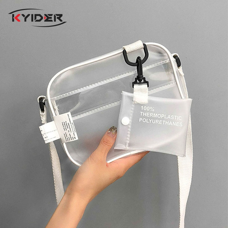 Beach Bag Causual PVC Clear Transparent Woman Crossbody Bags Shoulder Bag Handbag Small  Purses Phone Bags Bolsa Feminina Sale