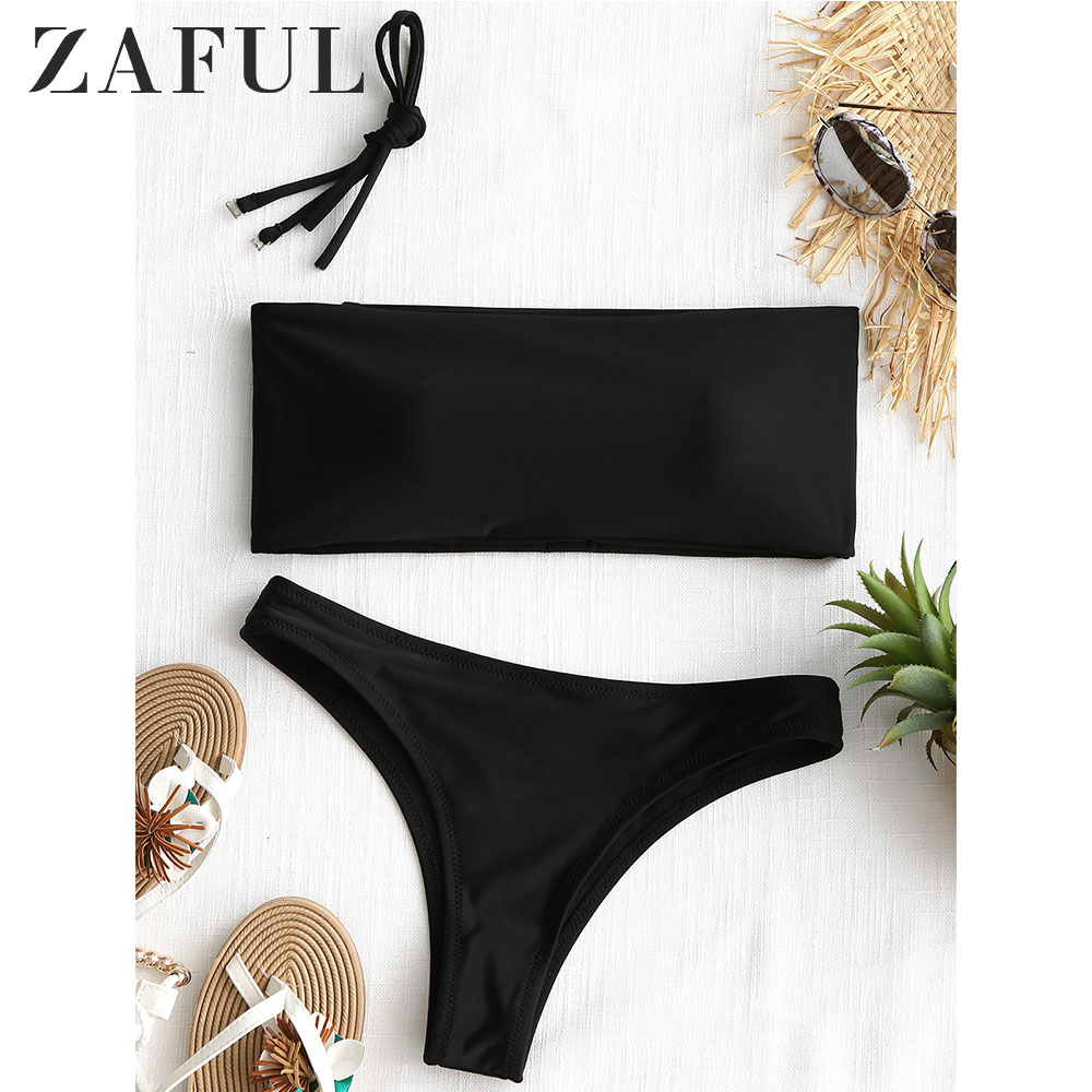 ZAFUL Bandeau High Cut Bikini Set Halter Solid Sexy Bandeau Bikini Wire Free Padded Swim Suit Women Classic Thong Bathing Suit