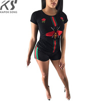 2018 summer tshirt women top t shirts cotton 2 pieces sets tracksuit blend luxury designer shorts bee embroider fashion model