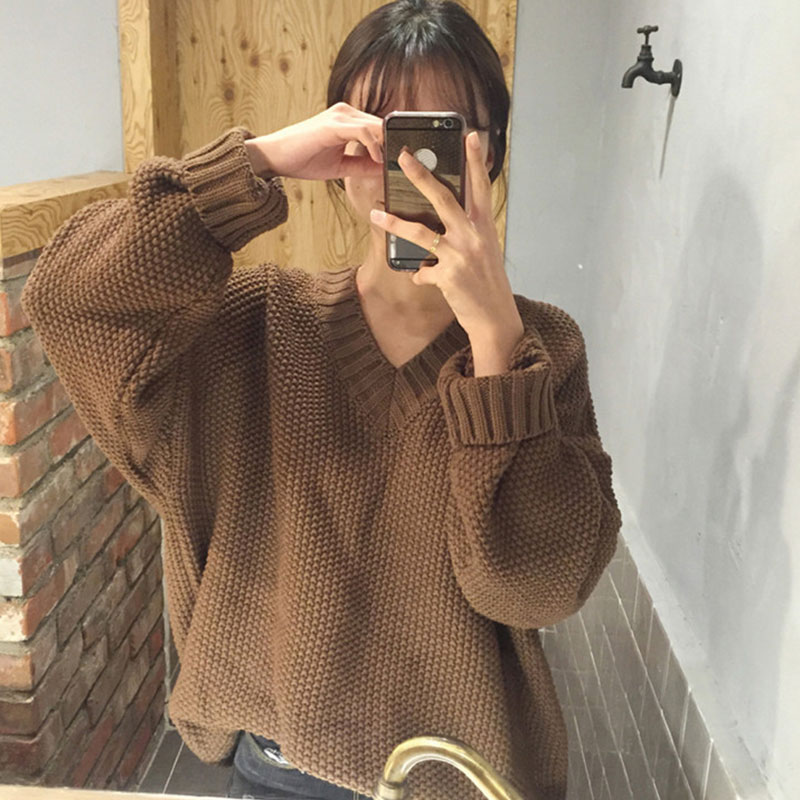 La MaxZa Women Sweater Casual 2018 Fashion Loose Autumn Winter Solid V neck White Brown Red Ladies Tops Thick Sweaters 202007
