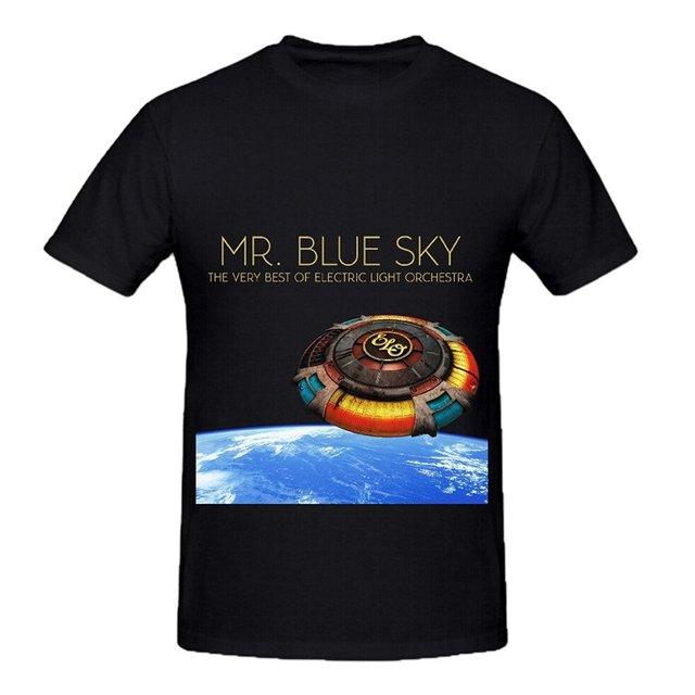 Senhor do Céu Azul Luz elétrica Orquestra Trilhas Homens Gráfico Em Torno Do Pescoço T Shirts