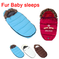 Cuello de Piel de bebé durmiendo Bolsa Sobre de invierno para los recién nacidos cochecito saco de dormir térmico niños sleepsack en el transporte de sillas de ruedas