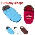 Gola de Pele de inverno Envelope Saco de dormir para recém-nascidos do bebê carrinho de criança saco de dormir térmico crianças sleepsack no transporte de cadeiras de rodas