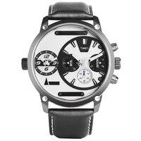 Keller & Weber Dual Time Zone Watch Men Quartz Stainless Steel Wrist Watch Genuine Leather Band relogio masculino