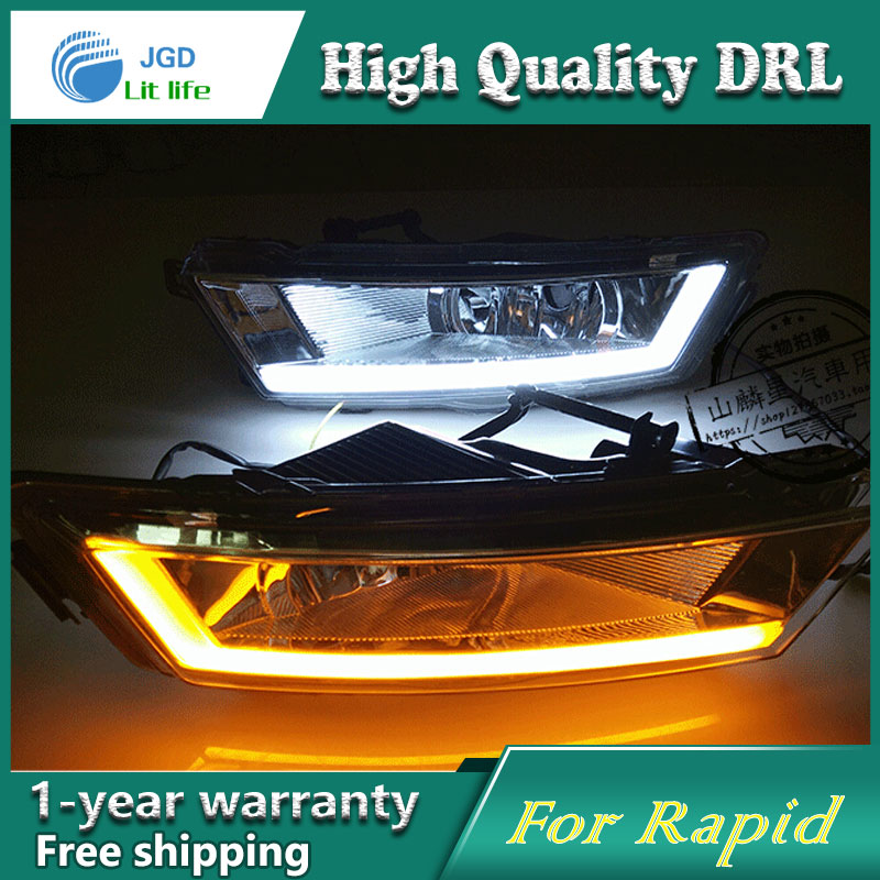 Free shipping !12V 6000k LED DRL Daytime running light case for Skoda Rapid 2013 2014 2015 fog lamp frame Fog light Car styling