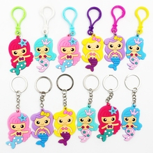 6Pcs Creative Cartoon Mermaid keychain Little theme Party Favors Pendant Key ring Birthday Decor Kids Girl Gifts