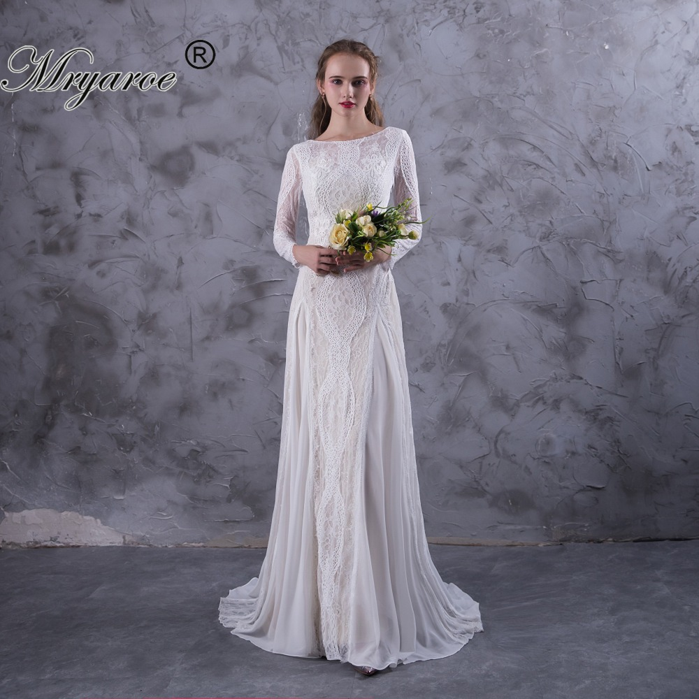 Mryarce Exquisite Lace Long Sleeve Backless Wedding Dresses 2017 ...