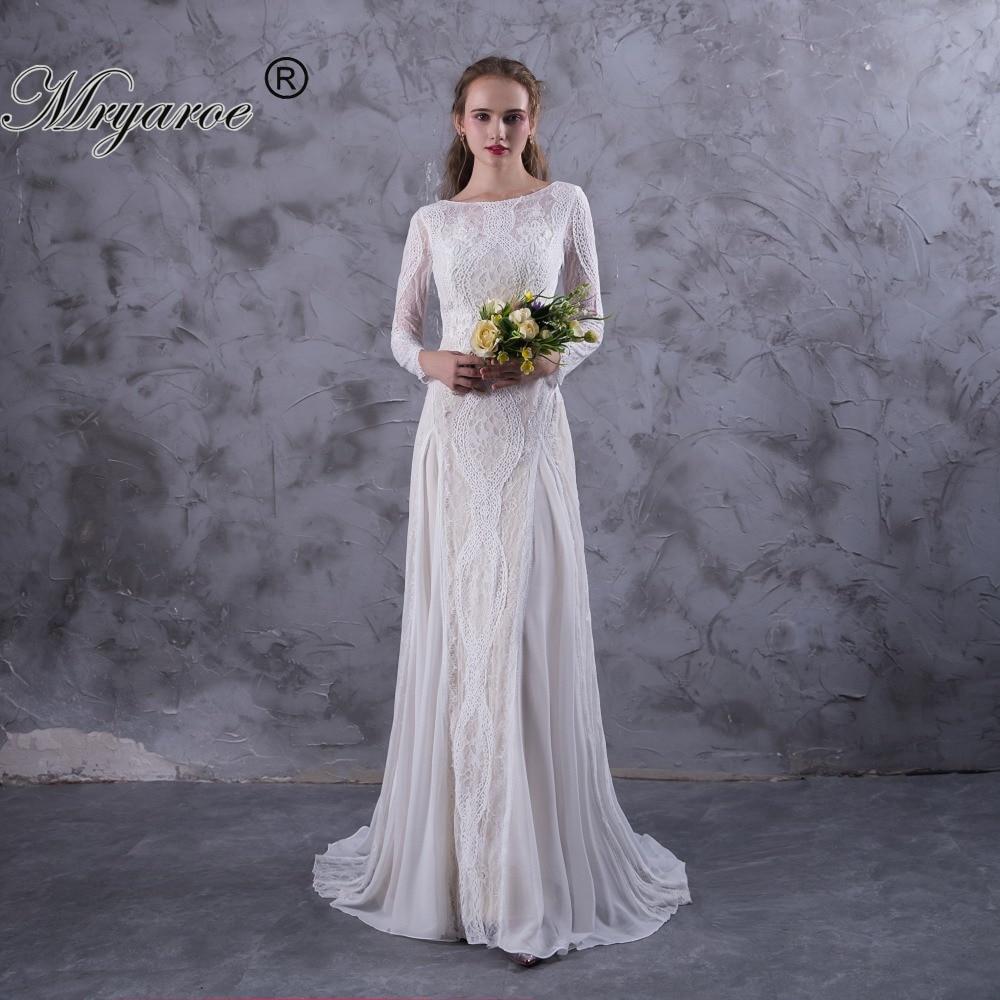 White Mryarce Lace Long Sleeve Backless Wedding Dresses 2017 Boho Wedding Dress Bridal Gowns Robe Mryarce Lace Long Sleeve Backless Wedding Dresses 2017 wedding dress Boho Chic Dresses